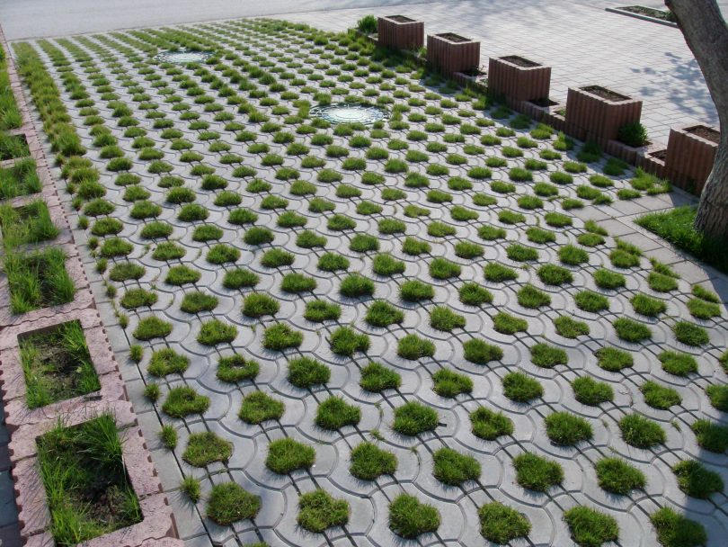 трава в плитке