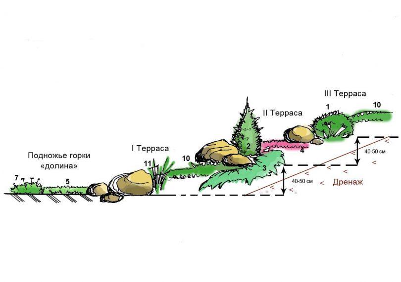 Еще схема альпинария