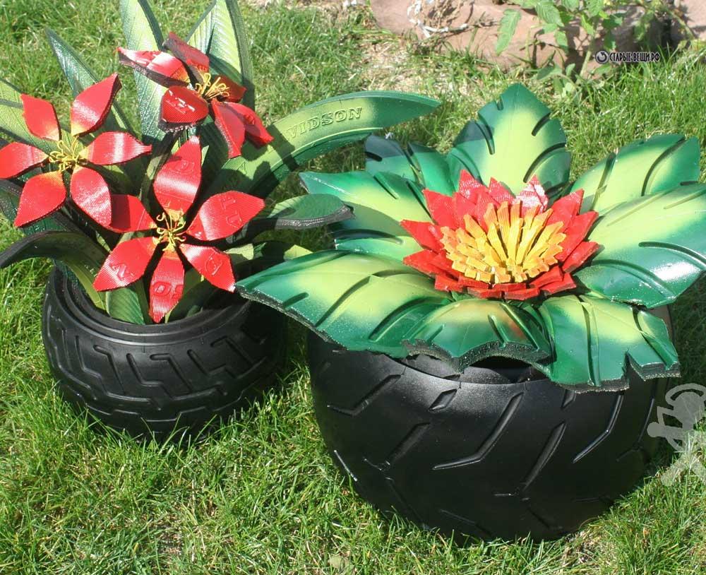 Цветы из колёс своими руками