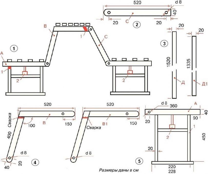 лавка трансформер чертежи