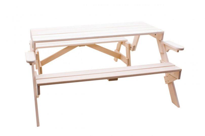скамейка трансформер с поперечными лагами по середине