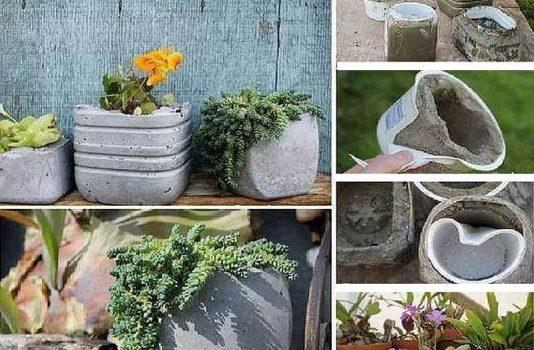 как сделать вазон из бетона