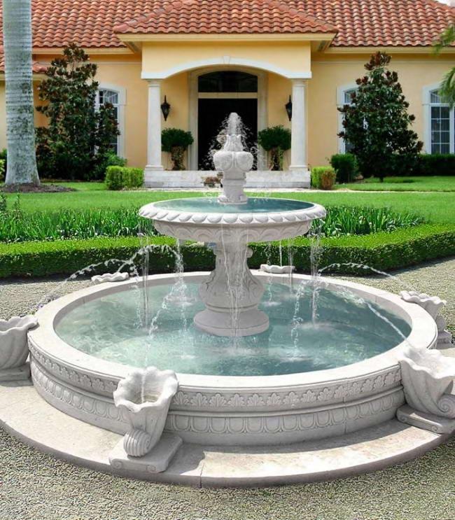 декор участка с помощью фонтана