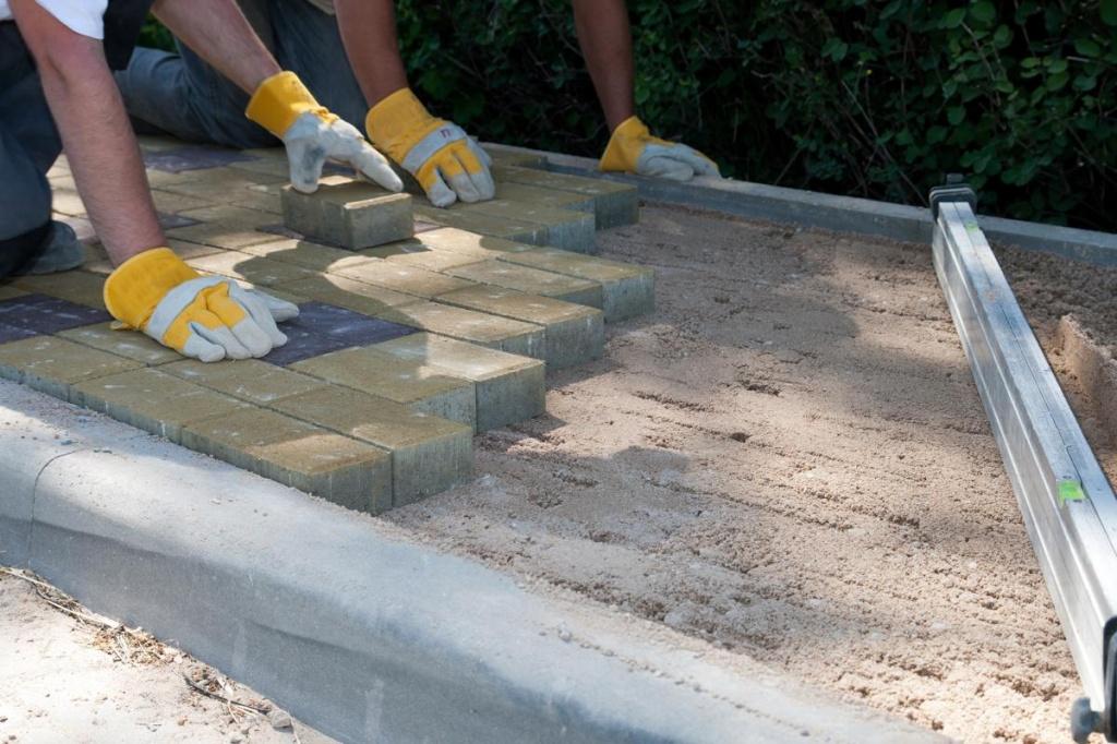 тротуарная плитка на даче укладка