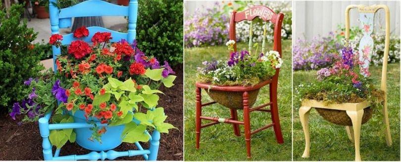 Старая мебель, украшенная цветами