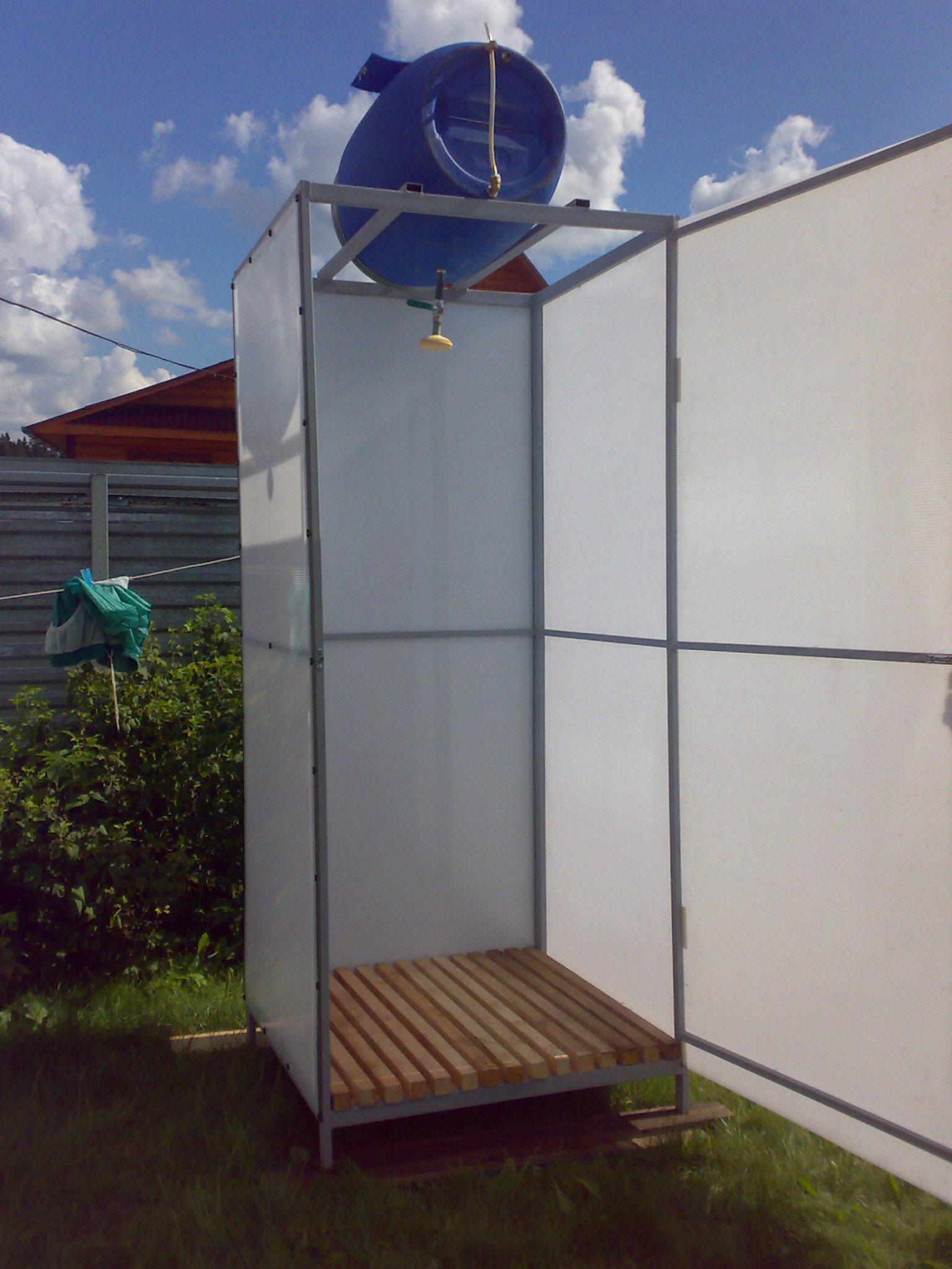 Летний душ своими руками из поликарбоната своими руками
