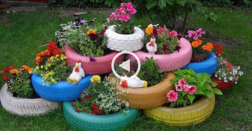 Клумба из покрышек - декор садового участка своими руками